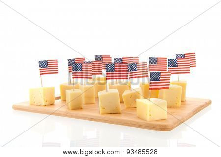 Tray with cubes American cheese isolated over white background