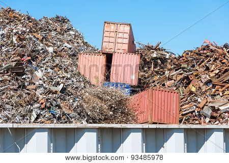 ISO standard containers swallowed by the scrap metal
