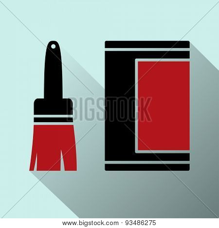 Icon of brushes with strips paint. Vector Illustration.