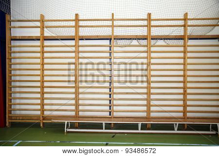Wooden Wall Bars In The School Gym