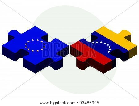 European Union And Venezuela Flags In Puzzle