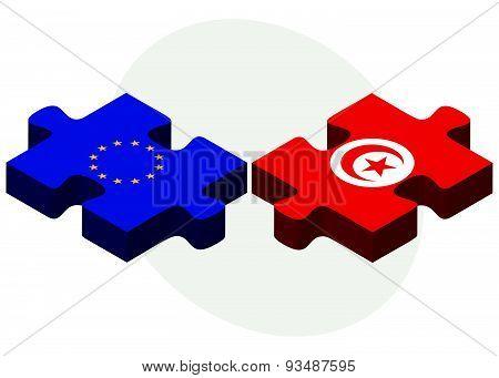 European Union And Tunisia Flags