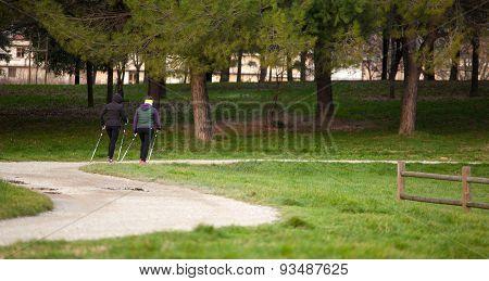 Two Women Doing Pole Walking