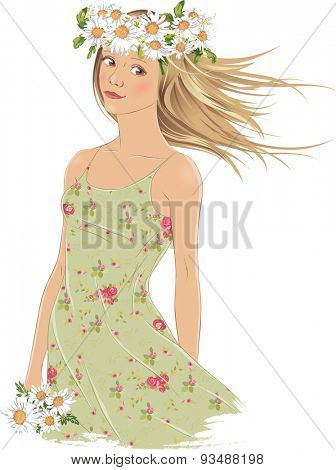 Girl with crown of daisies on white background