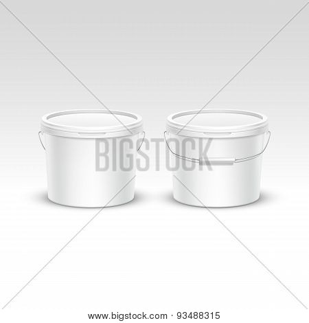 Vector Set of Plastic Bucket Container Packaging