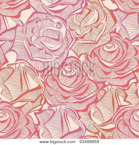 Roses seamless pattern, rose stems texture