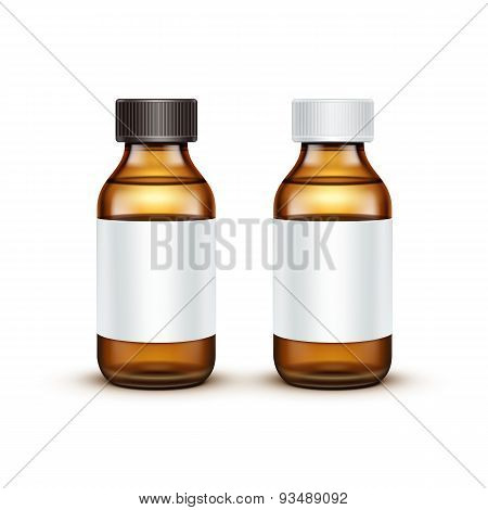 Vector Glass Medical Bottle With Liquid Fluid