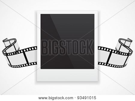 photo card with film strip roll background  concept