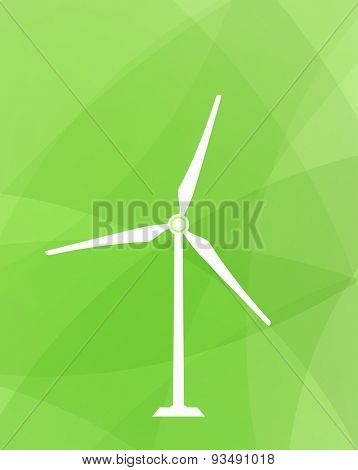wind turbine icon on green abstract background - eco concept
