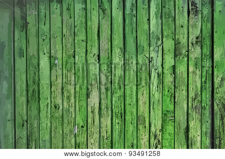 painted old wooden wall. green background, vector