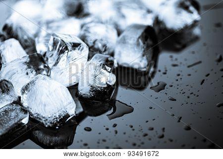 ice on black background