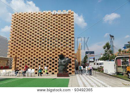 MILAN, ITALY - May 26: Poland pavilion at Milan Expo, universal exposition on the theme of food on May 26, 2015 in Milan, Italy.