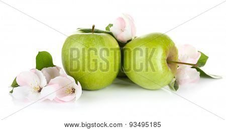 Fresh apples with apple blossom, isolated on white