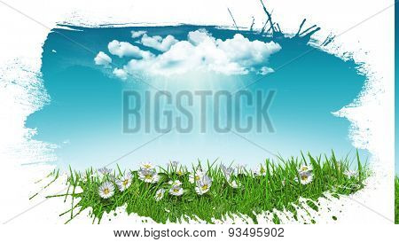 3D render of daisies in grass with a sunny rain cloud with a grunge style splat effect