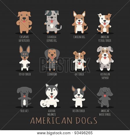 Set Of American Dogs