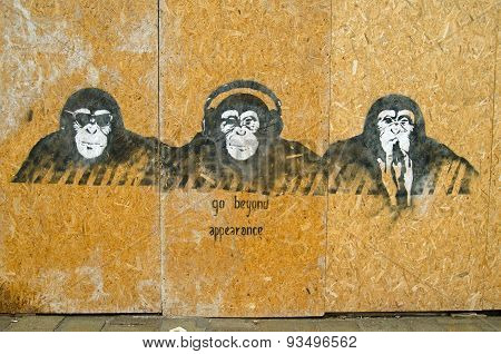 Cool Wise Monkeys Graffiti, Venice