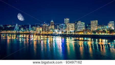 Portland Riverfront At Night