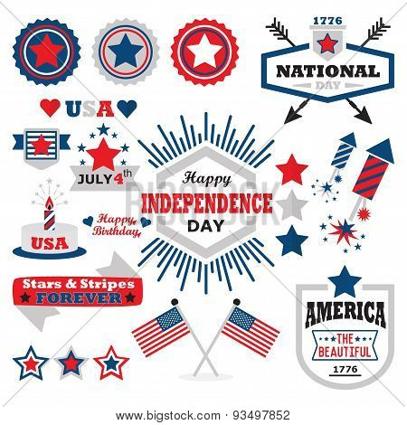American Happy Independence Day design elements set