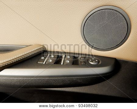 Electronic controls pannel with speaker in car