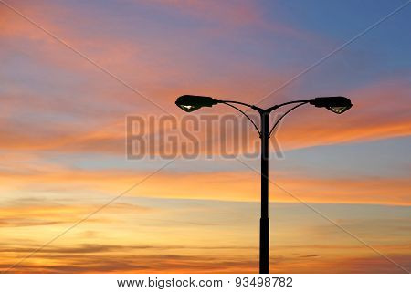 Silhouette Of Streetlight With Beautiful Twilight