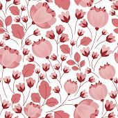 stock photo of stamen  - Pastel pink stylized flowers seamless pattern with long stamens and branches - JPG