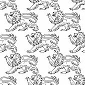 stock photo of lion  - Heraldic lions seamless pattern with outline profiles of lions with raised foreleg on white background for textile or heraldry design - JPG