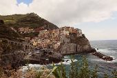 stock photo of cliffs moher  - Old city on cliff near ocean in Ireland - JPG
