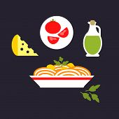 pic of italian parsley  - Italian pasta in flat style depicting spaghetti with cheese - JPG