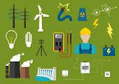 image of hydro-electric  - Electricity industry flat infographic icons including power generation and transportation - JPG