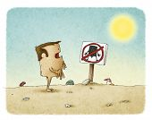 pic of voyeur  - illustration of Naked man reads sign prohibited nudism - JPG