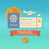 picture of boarding pass  - modern flat design web icon on airline tickets and travel with jet airliner flying - JPG