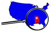 image of alabama  - Alabama state outline inset set into a map of The United States of America with magnifying glass - JPG