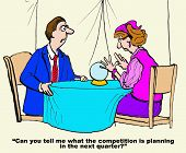 image of fortune-teller  - Business cartoon of businessman asking fortune teller with crystal ball - JPG