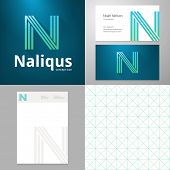 stock photo of letter n  - Design icon letter N element with Business card and paper template - JPG