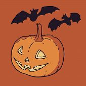 pic of carving  - Halloween carved pumpkin lantern with bat silhouettes - JPG
