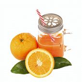 picture of masonic  - Orange juice in a mason jar glass with striped straw and fresh fruit slices isolated on white background - JPG