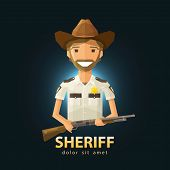 stock photo of trooper  - happy Sheriff with a gun in his hand - JPG