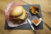 picture of beef-burger  - Beef burger with fried egg and chips - JPG