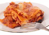 picture of lasagna  - Lasagna in plate isolated on white background - JPG