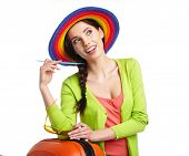 pic of boarding pass  - Woman tourist with travel suitcase and blue boarding pass - JPG