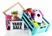 image of yard sale  - Heap of unwanted stuff ready for yard sale isolated on white - JPG