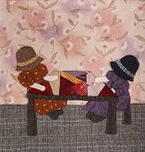 picture of applique  - Sunbonnet sue applique quilt with two little girls - JPG