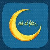 picture of eid al adha  - Greeting card design with colorful creative crescent moon and text Eid - JPG