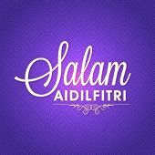 image of eid mubarak  - Stylish text Salam Aidilfitri on glossy seamless background for muslim community festival - JPG