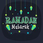 picture of prayer  - Beautiful floral design decorated creative text Ramadan Mubarak with hanging lanterns and stars - JPG