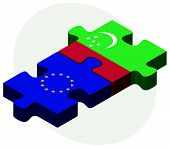 foto of turkmenistan  - European Union and Turkmenistan Flags in puzzle isolated on white background - JPG