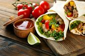 pic of potato chips  - Homemade tasty burritos with vegetables - JPG