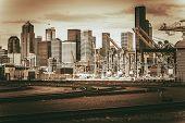 picture of washington skyline  - Vintage Port of Seattle - JPG