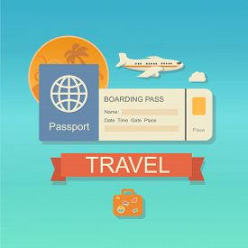 pic of passport cover  - modern flat design web icon on airline tickets and travel with jet airliner flying - JPG