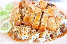 pic of pork belly  - Crispy Pork with Rice - JPG